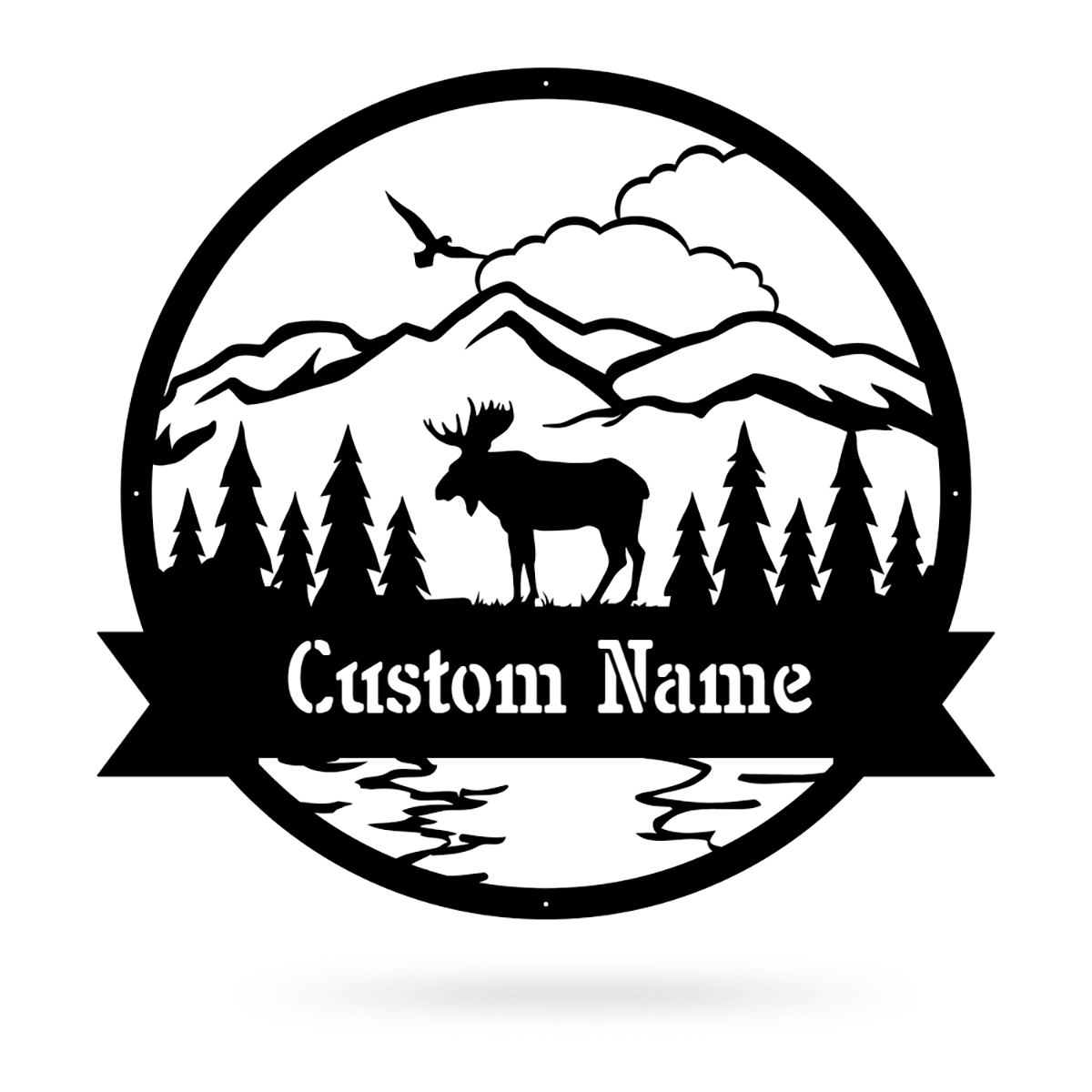 "Great Outdoors Moose Monogram 20""x20"" / Black - RealSteel Center"