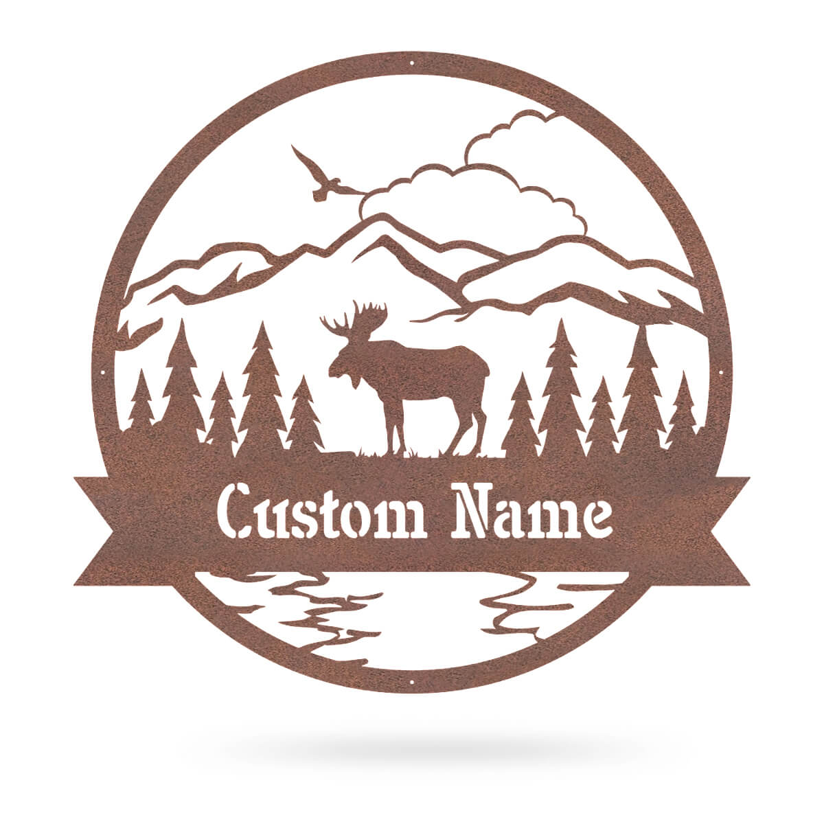 "Great Outdoors Moose Monogram 20""x20"" / Rust - RealSteel Center"