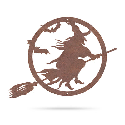 "Halloween Witch Riding Broom 20""x15"" / Rust - RealSteel Center"