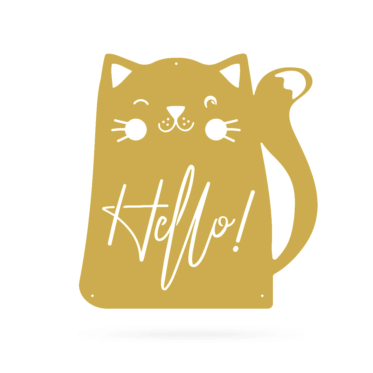 "Hello Cat Wall Art 18"" / Gold - RealSteel Center"