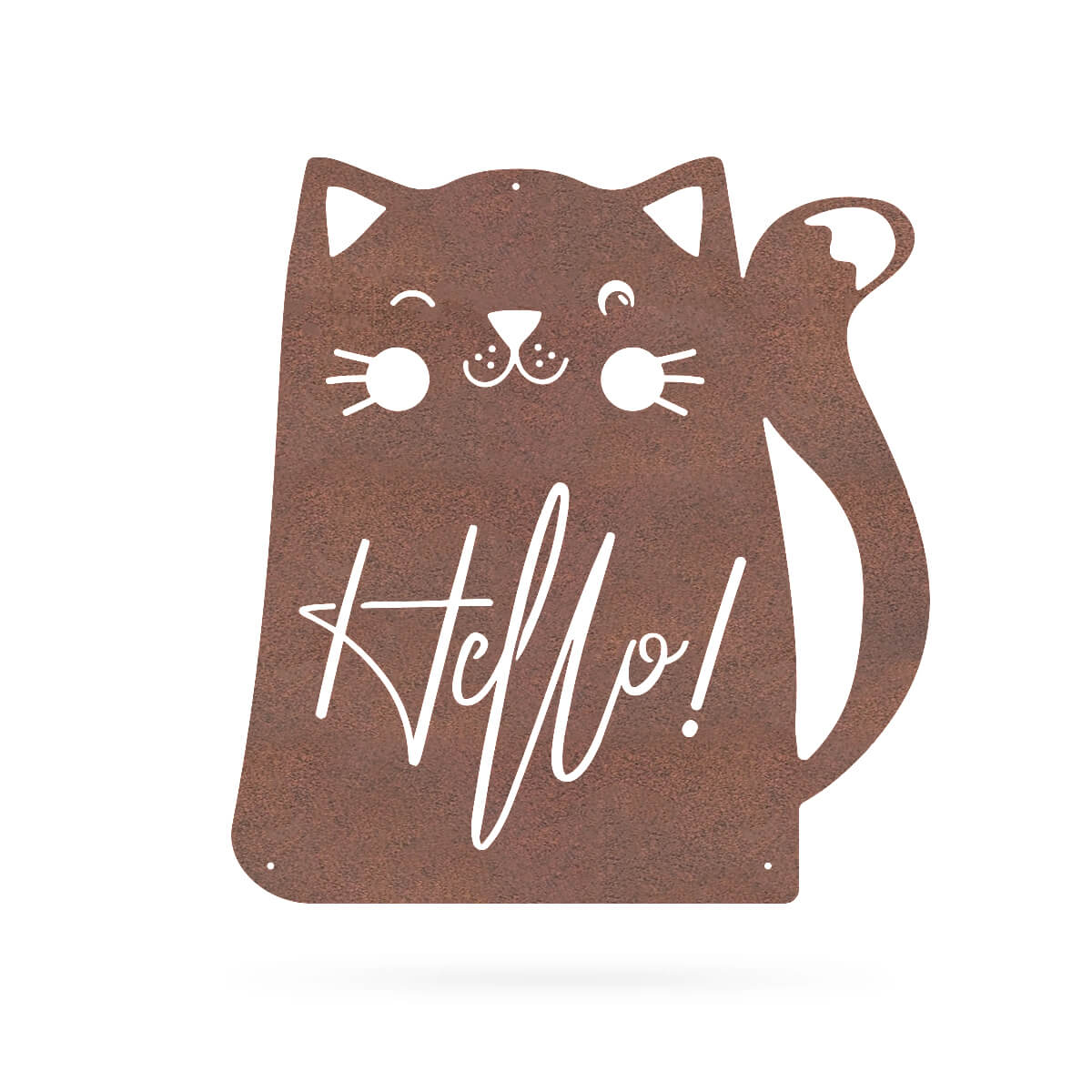 "Hello Cat Wall Art 18"" / Rust - RealSteel Center"
