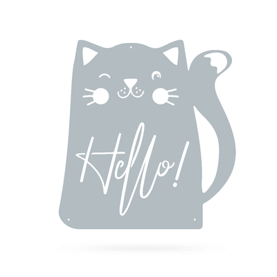 "Hello Cat Wall Art 18"" / Textured Silver - RealSteel Center"