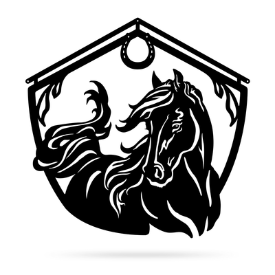 "Horse and Barn Sign 18"" / Black - RealSteel Center"