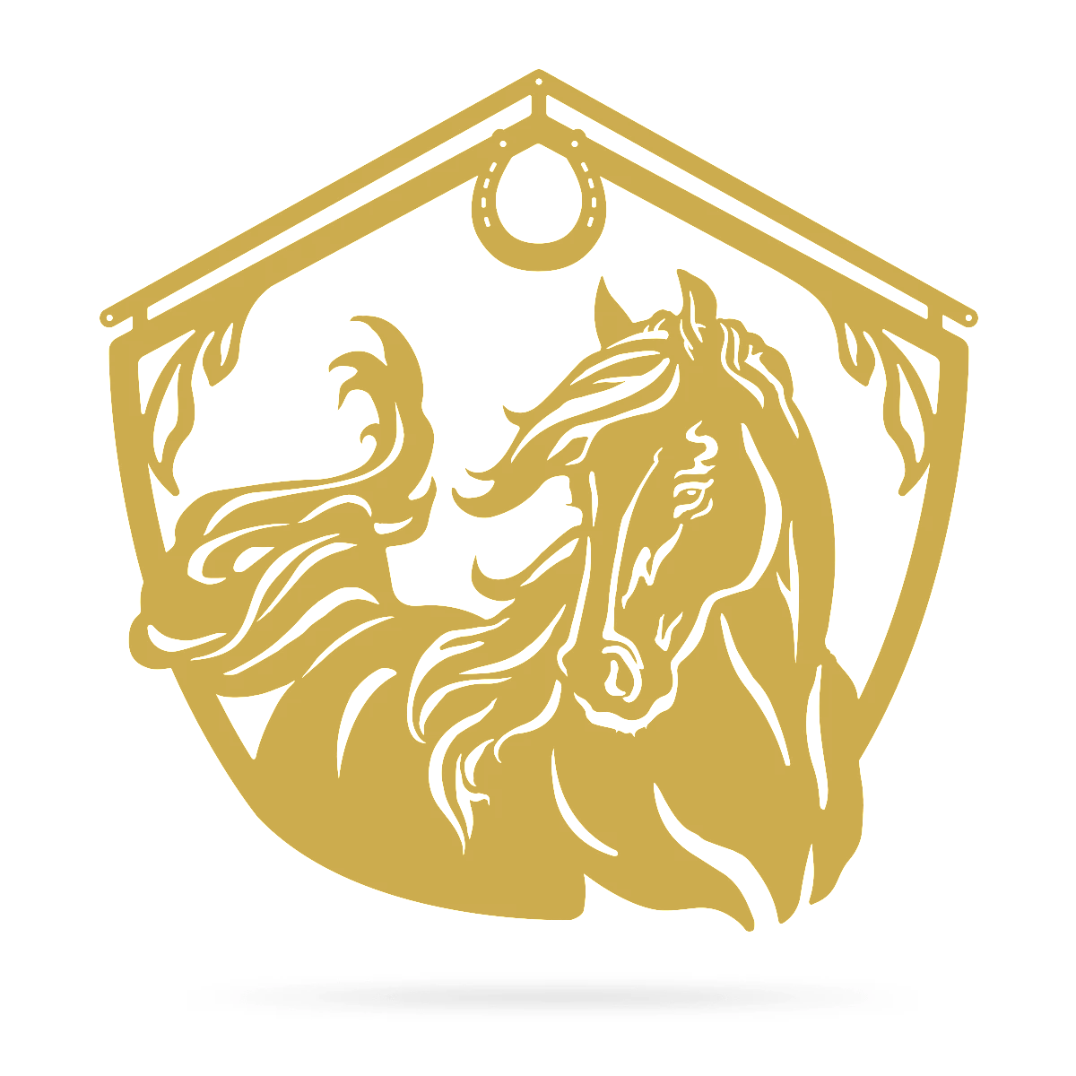 "Horse and Barn Sign 18"" / Gold - RealSteel Center"