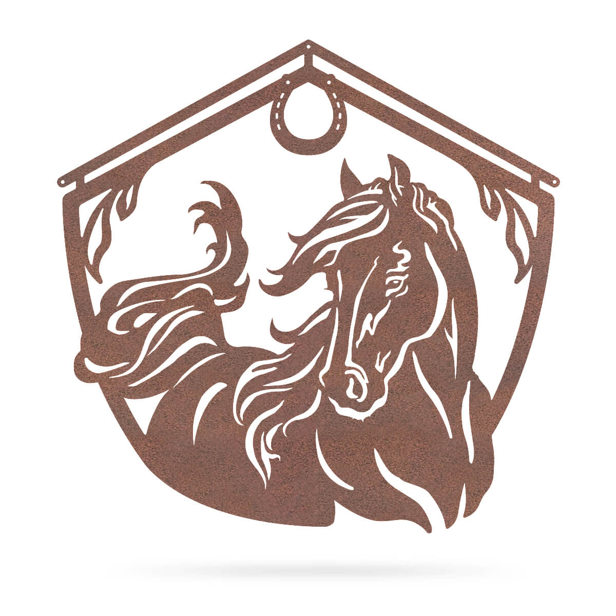 "Horse and Barn Sign 18"" / Rust - RealSteel Center"