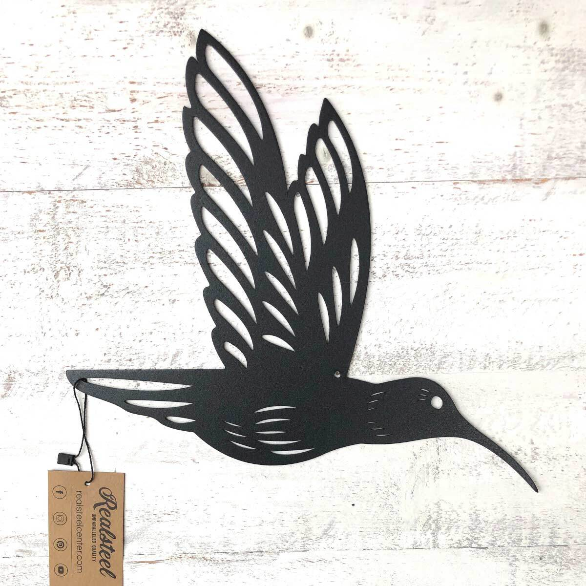 "Humming Bird Wall Art 6""x9"" / Black / Single Bird - RealSteel Center"