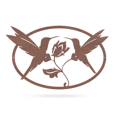 "Humming Birds Wall Art 11""x18"" / Rust - RealSteel Center"