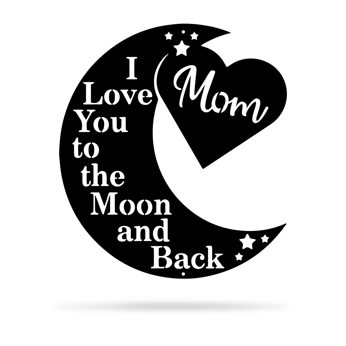 "Love You To The Moon Wall Art - Mom Ltd 18"" / Black - RealSteel Center"