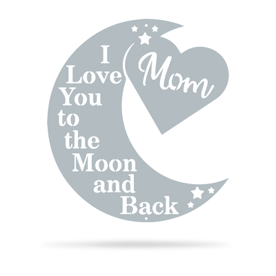 "Love You To The Moon Wall Art - Mom Ltd 18"" / Textured Silver - RealSteel Center"