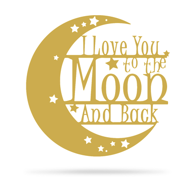 "Love You To The Moon Wall Art - 2nd Ed 18"" / Gold - RealSteel Center"