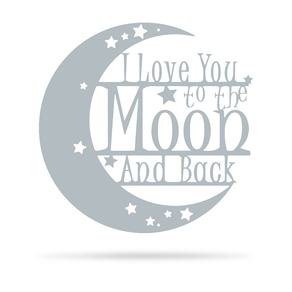 "Love You To The Moon Wall Art - 2nd Ed 18"" / Textured Silver - RealSteel Center"