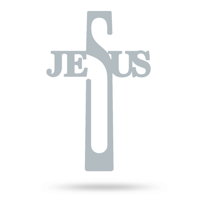 "Jesus Cross Wall Art 8""x16"" / Textured Silver - RealSteel Center"