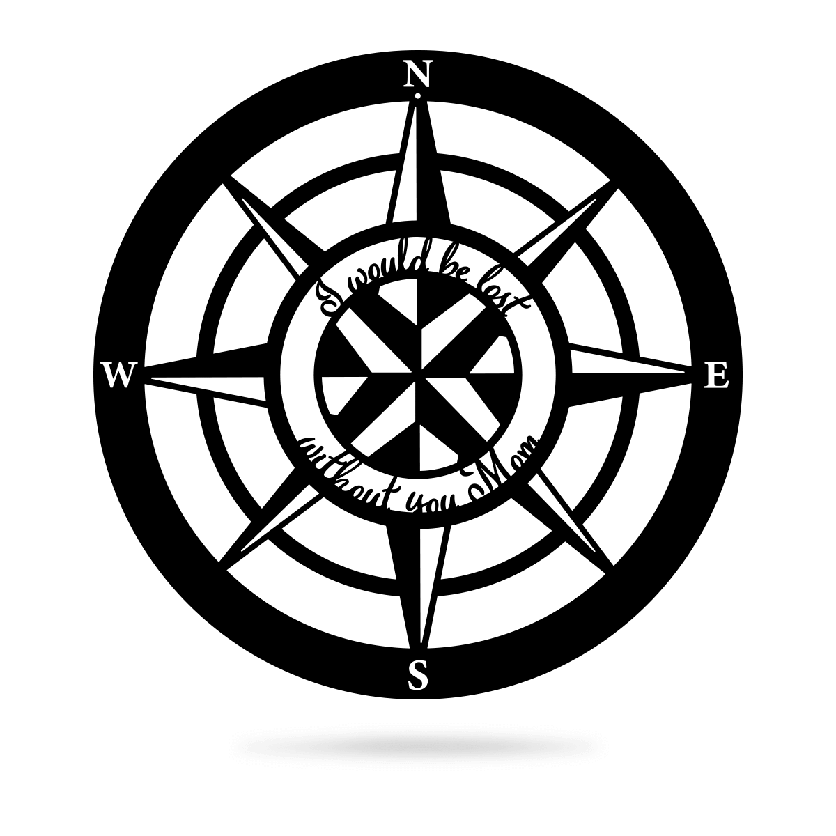 "Lost Without Mom Compass Wall Art - Type A 18"" / Black - RealSteel Center"