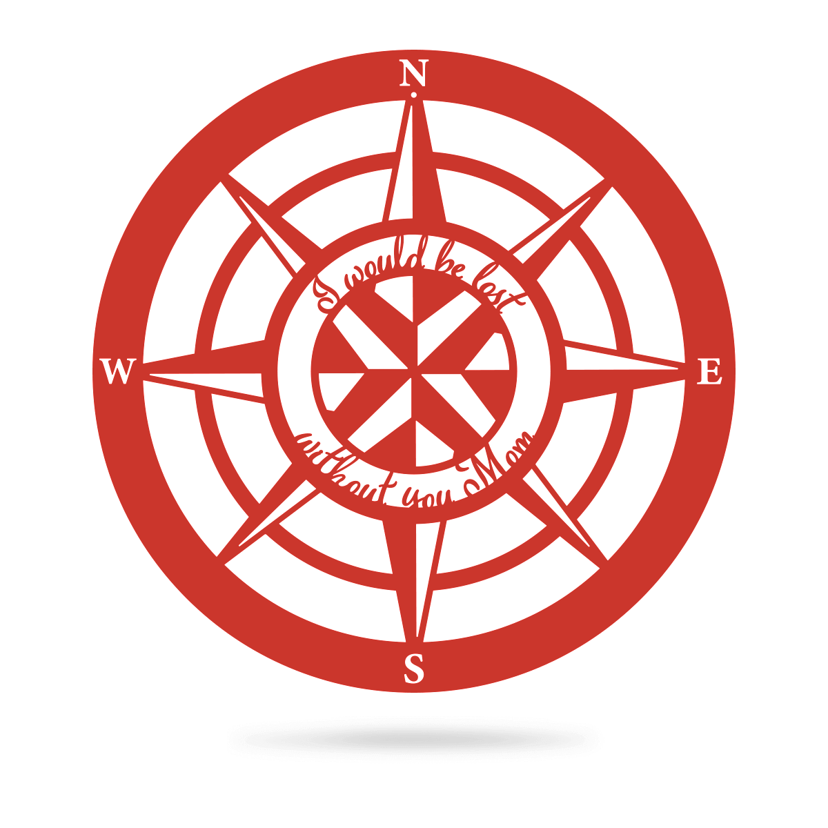 "Lost Without Mom Compass Wall Art - Type A 18"" / Red - RealSteel Center"