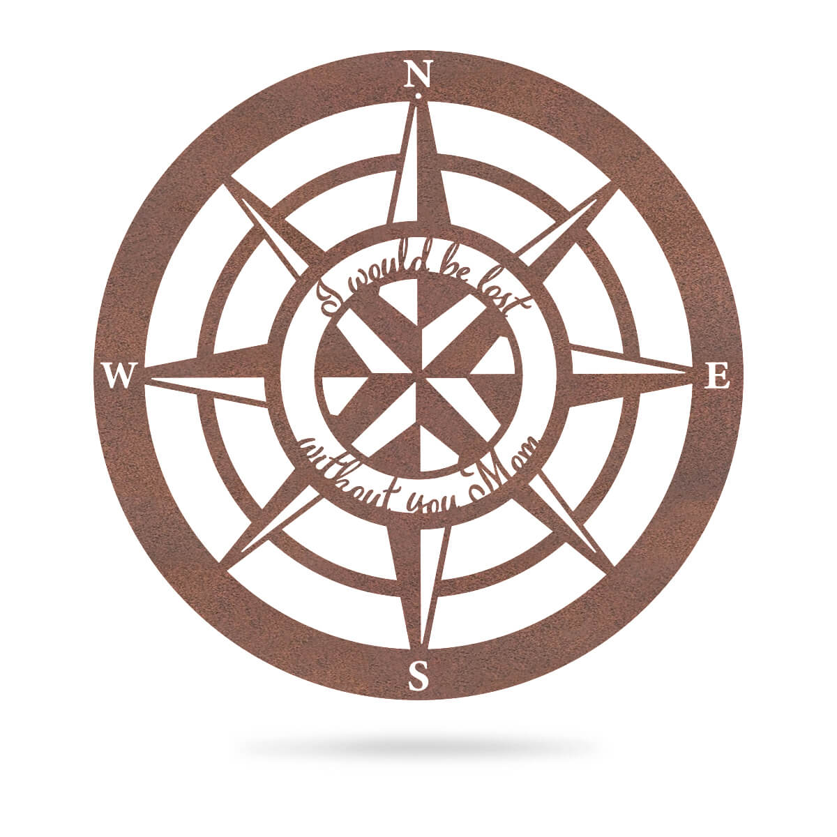 "Lost Without Mom Compass Wall Art - Type A 18"" / Rust - RealSteel Center"