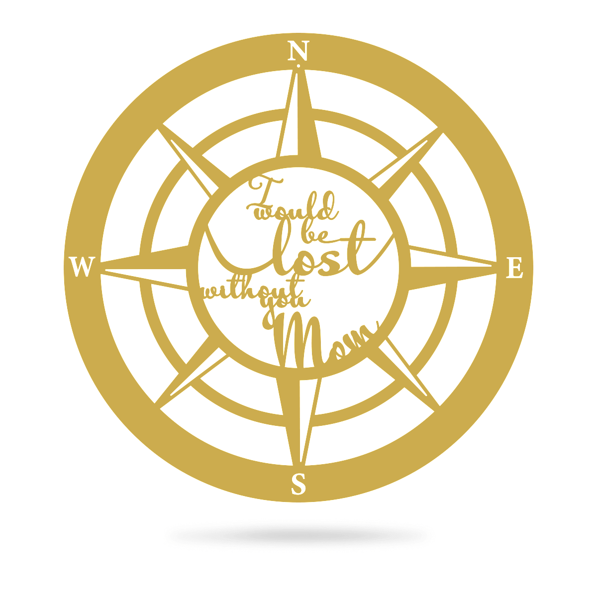 "Lost Without Mom Compass Wall Art - Type B 18"" / Gold - RealSteel Center"