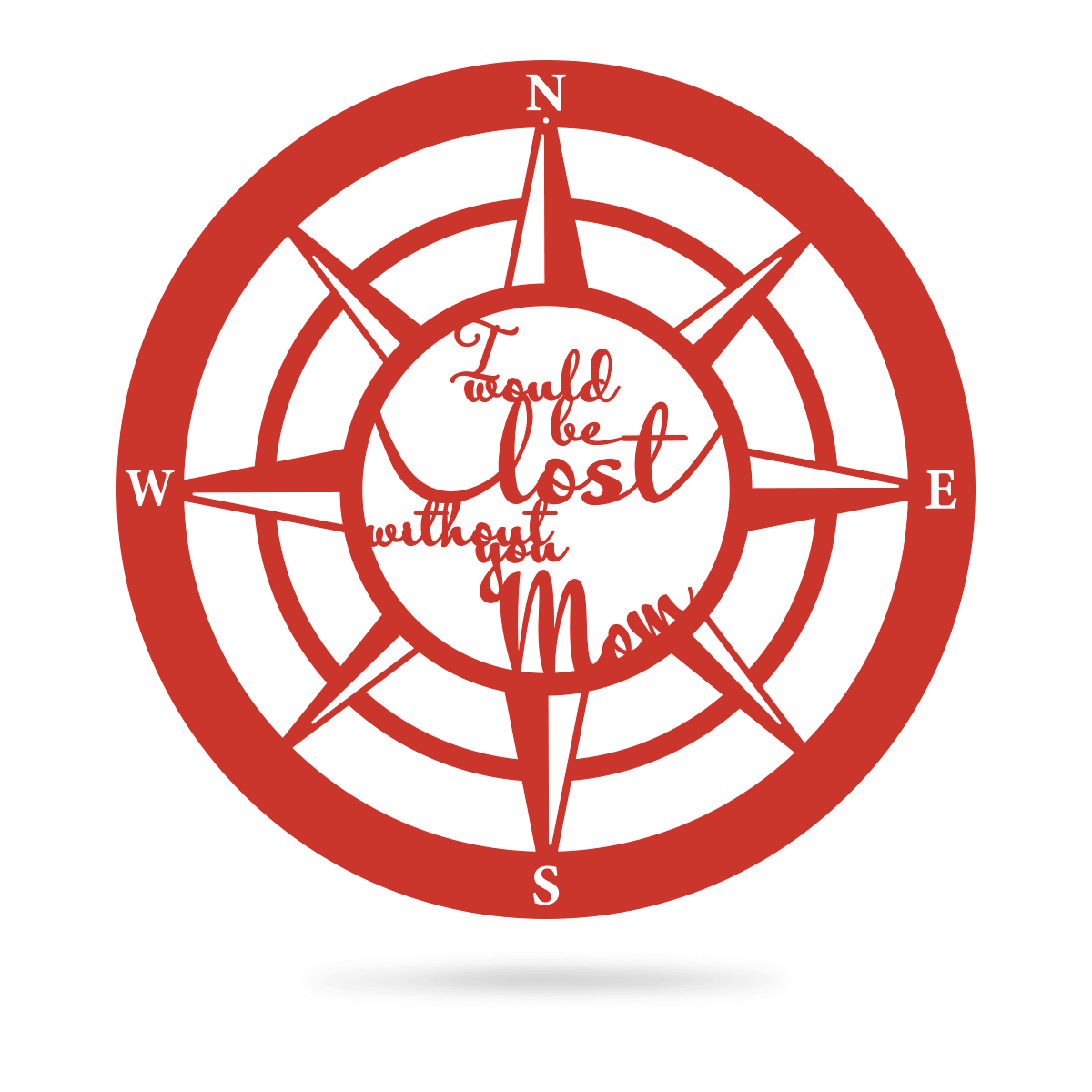 "Lost Without Mom Compass Wall Art - Type B 18"" / Red - RealSteel Center"