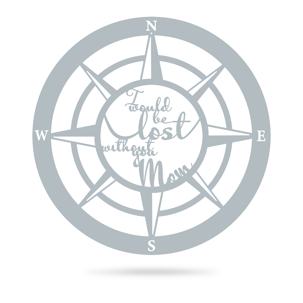 "Lost Without Mom Compass Wall Art - Type B 18"" / Textured Silver - RealSteel Center"