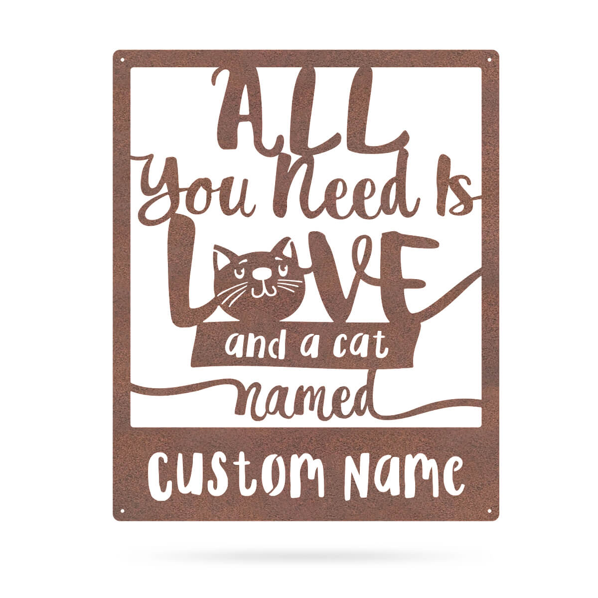 "Love And A Cat Monogram 15""x18"" / Rust - RealSteel Center"
