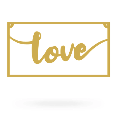 "Love Metal Sign 8""x15"" / Gold - RealSteel Center"