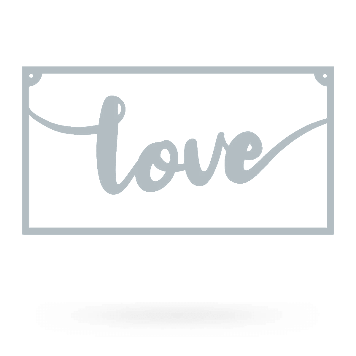 "Love Metal Sign 8""x15"" / Textured Silver - RealSteel Center"
