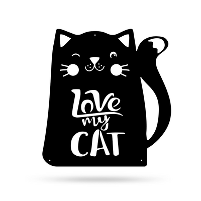"Love My Cat Wall Art 18"" / Black - RealSteel Center"