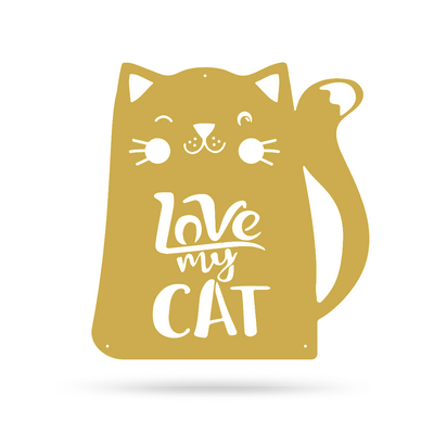 "Love My Cat Wall Art 18"" / Gold - RealSteel Center"