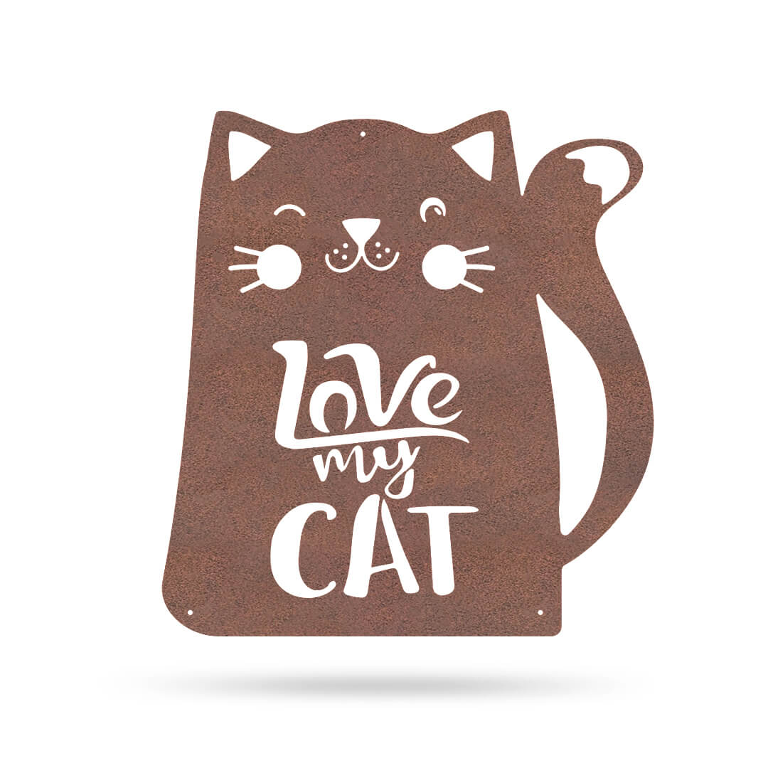 "Love My Cat Wall Art 18"" / Rust - RealSteel Center"