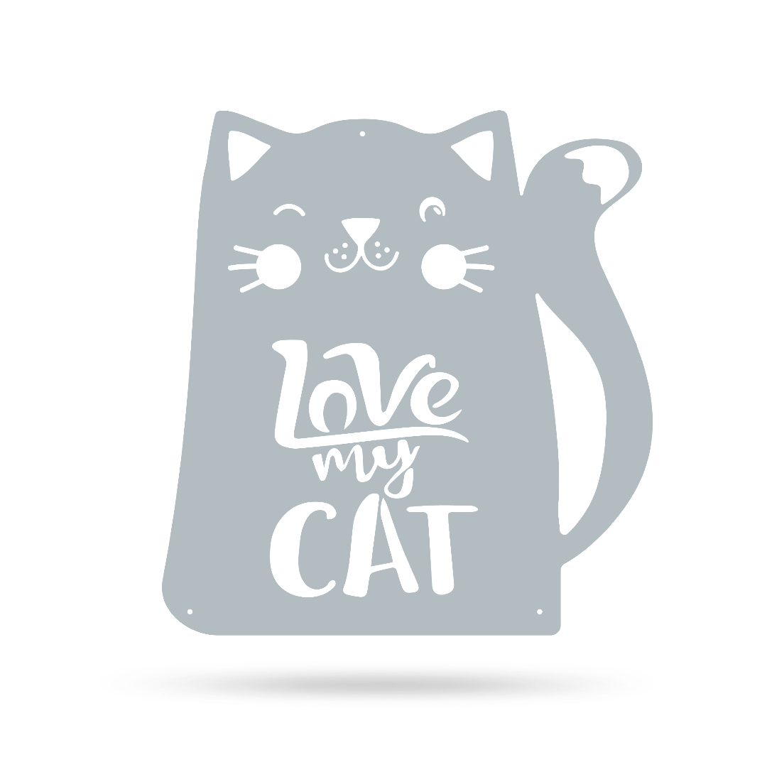 "Love My Cat Wall Art 18"" / Textured Silver - RealSteel Center"