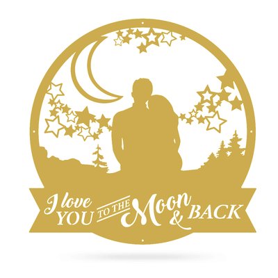 "Love You To The Moon Wall Art 18"" / Gold - RealSteel Center"