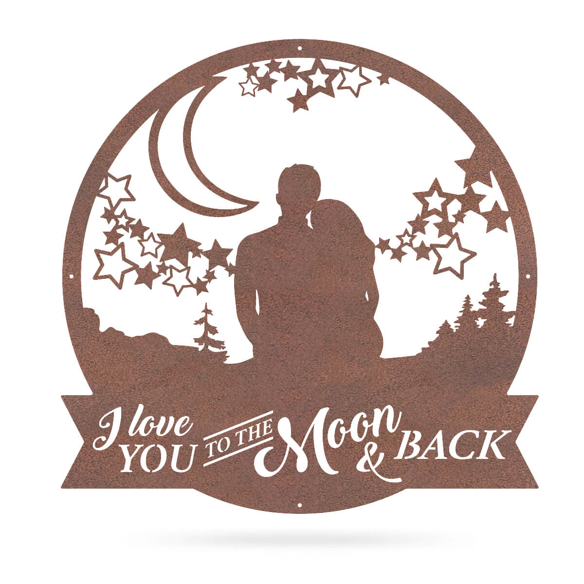 "Love You To The Moon Wall Art 18"" / Rust - RealSteel Center"