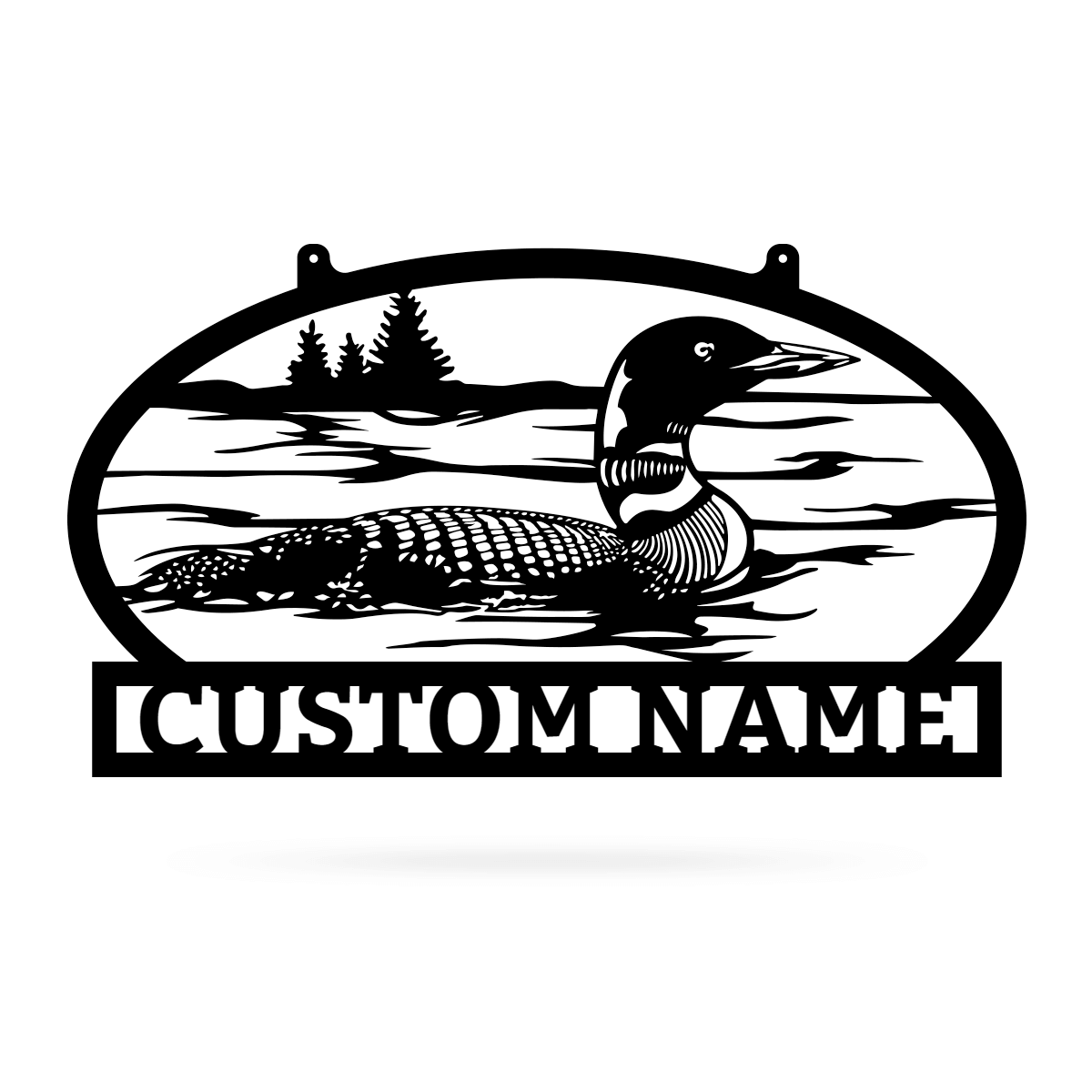 "Outdoor Sign with Loon 14""x24"" / Black - RealSteel Center"