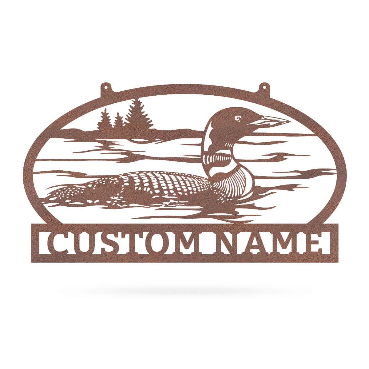 "Outdoor Sign with Loon 11.7""x20"" / Rust - RealSteel Center"