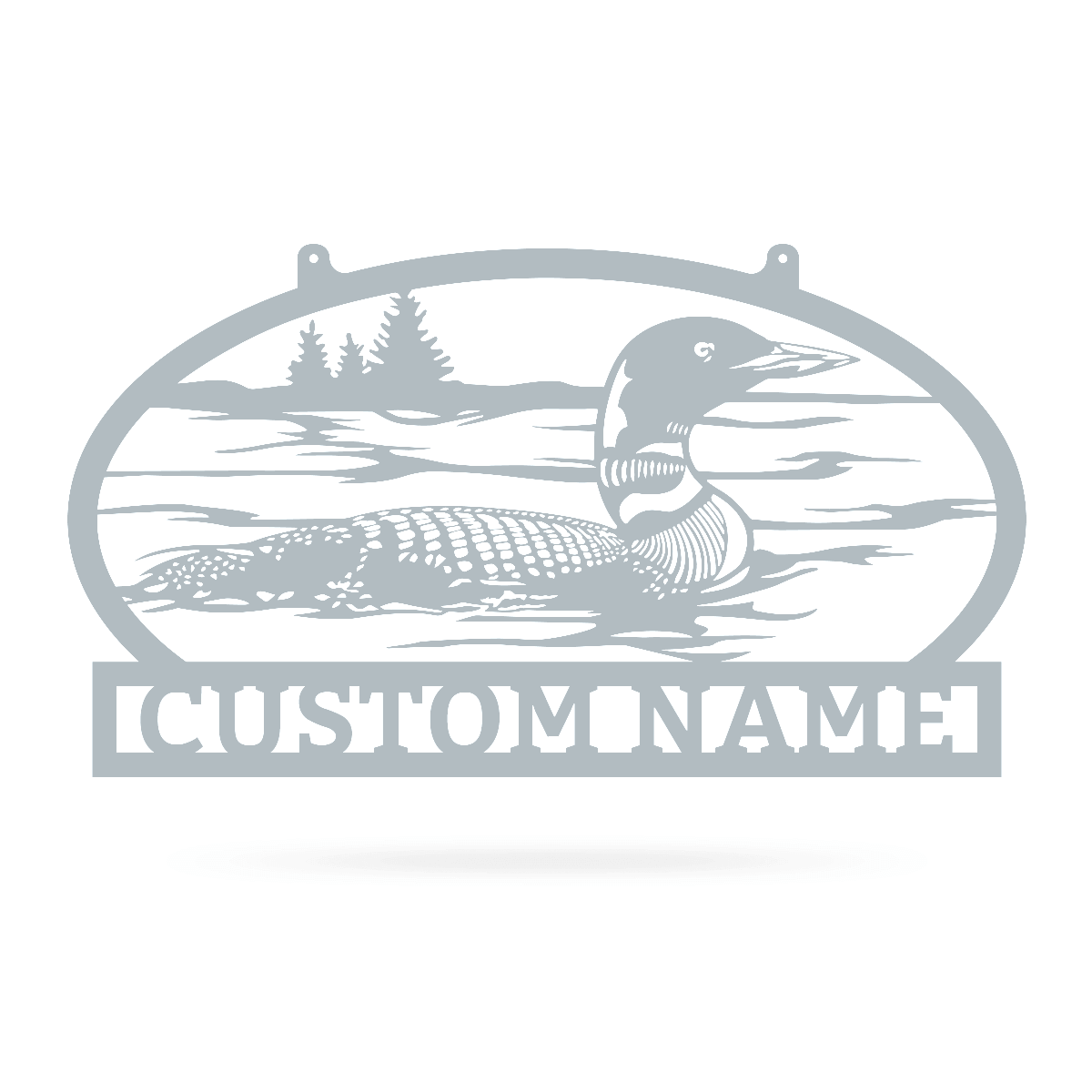"Outdoor Sign with Loon 11.7""x20"" / Textured Silver - RealSteel Center"