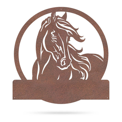 "Personalized Horse Ranch Sign 24""x24"" / Rust - RealSteel Center"