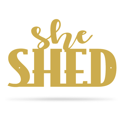 "She Shed Wall Art 7.5""x12"" / Gold - RealSteel Center"