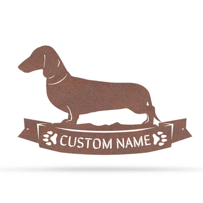 "The Dachshund Monogram 12.5""x20"" / Rust - RealSteel Center"