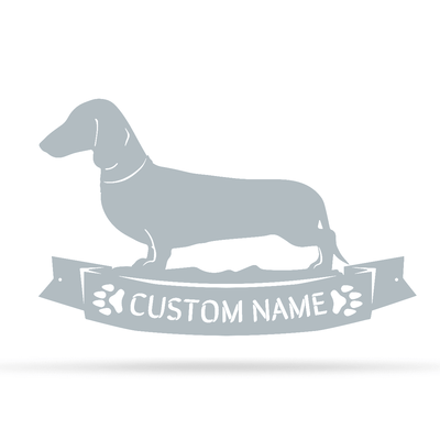 "The Dachshund Monogram 12.5""x20"" / Textured Silver - RealSteel Center"