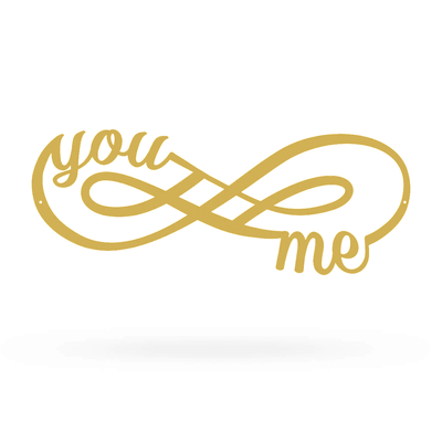"You + Me for Infinity Wall Décor Sign 7""x18"" / Gold - RealSteel Center"