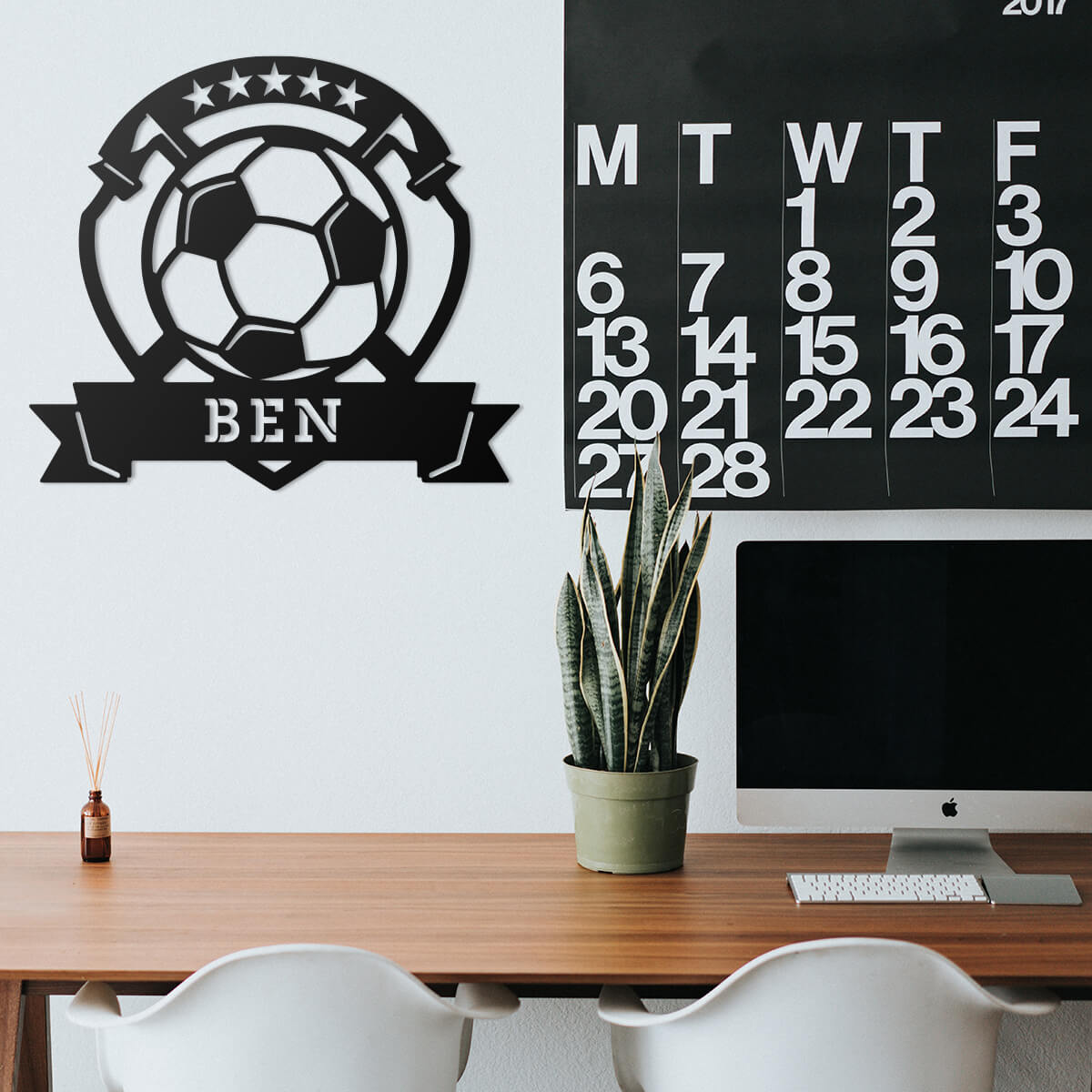 "Soccer Ball Monogram 15""x18"" / Black - RealSteel Center"