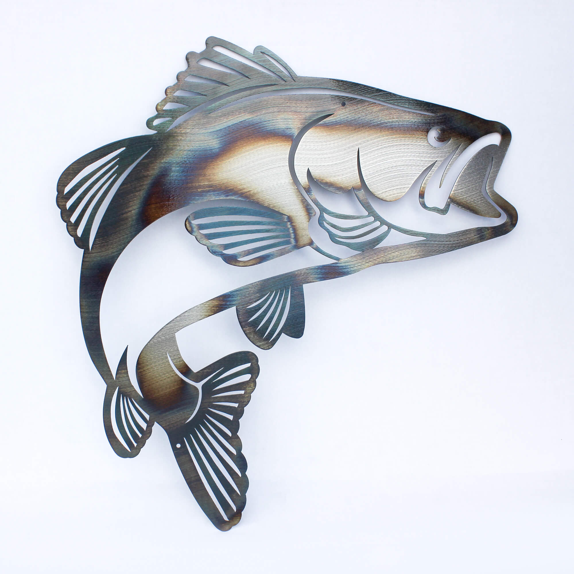 "Jumping Bass Metal Wall Art 18""x18"" - RealSteel Center"