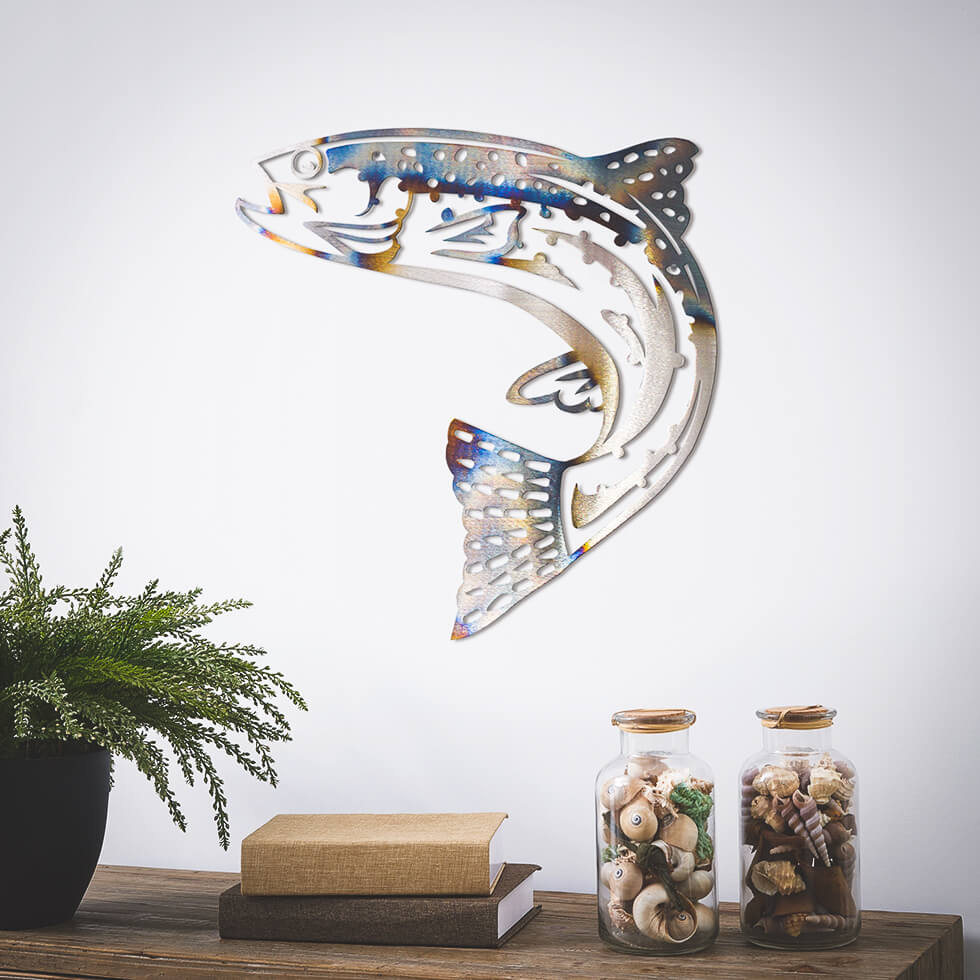 "Jumping Trout Metal Wall Art 18""x18"" - RealSteel Center"