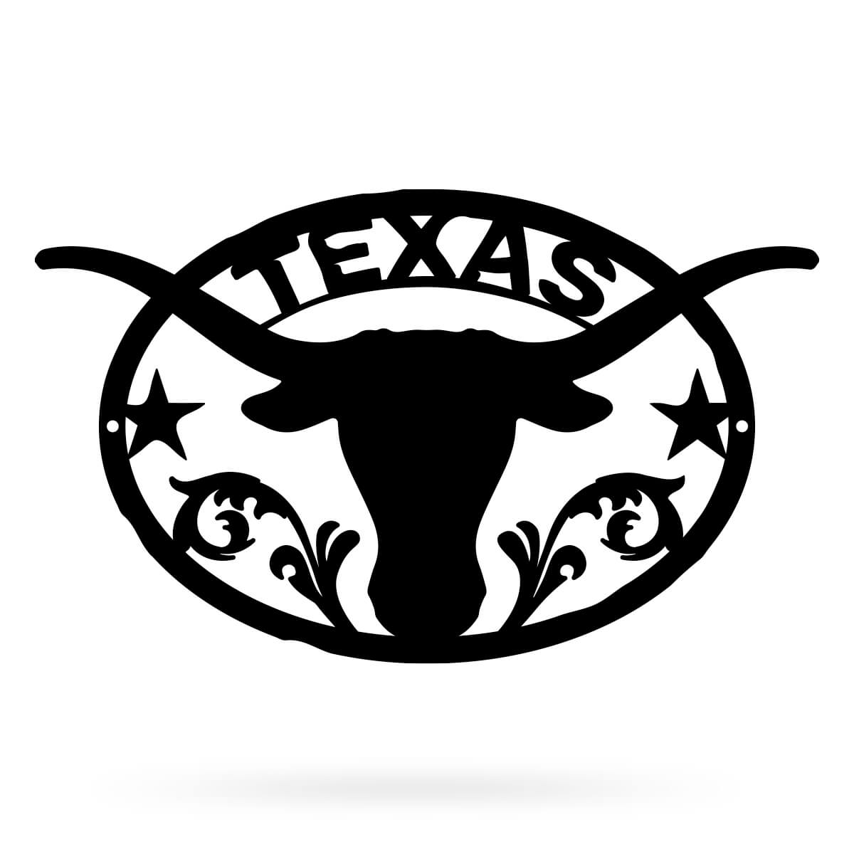 "Texas Longhorn Wall Dècor Large - 18""x24"" / Black - RealSteel Center"