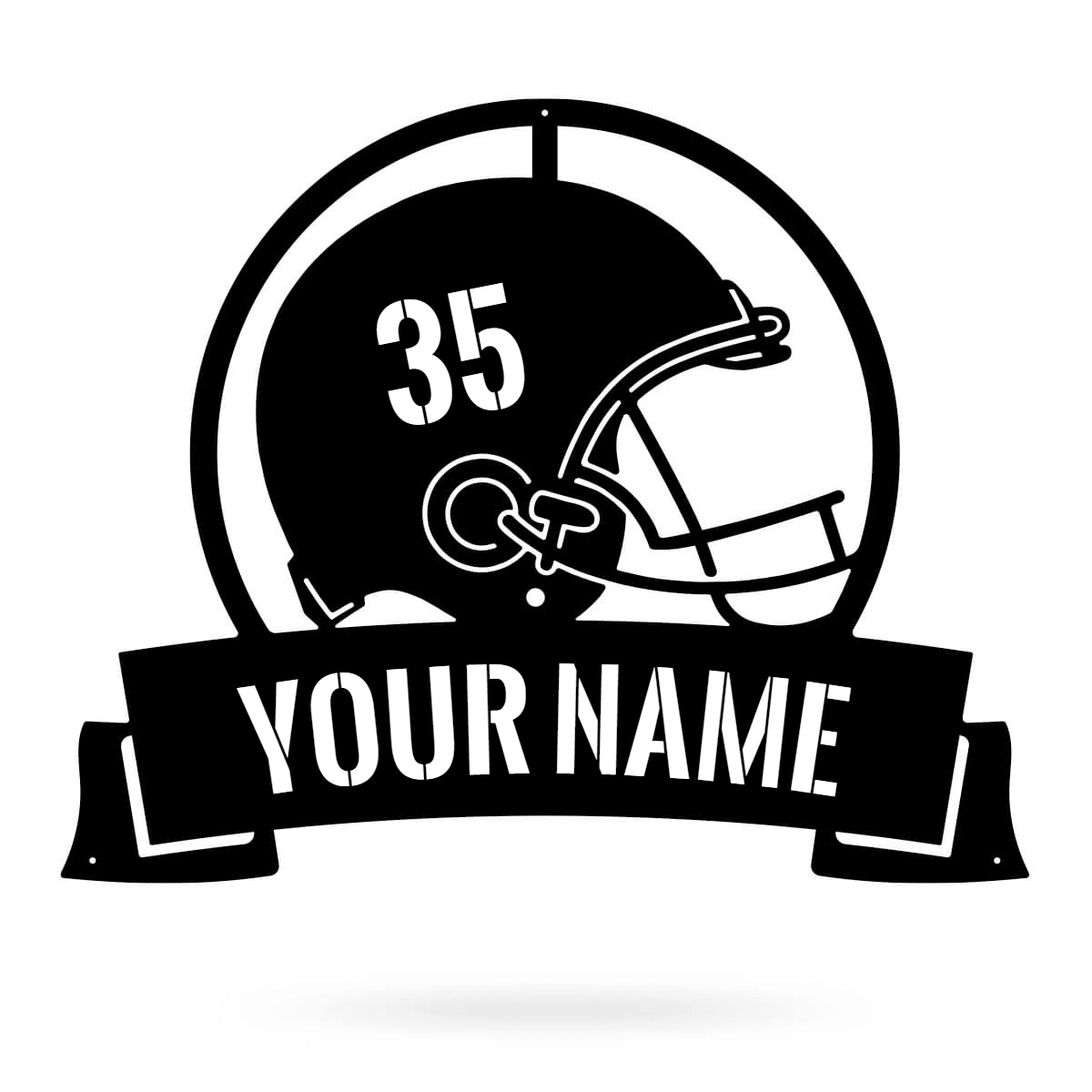 "Football Helmet Monogram 20""x24"" / Black - RealSteel Center"
