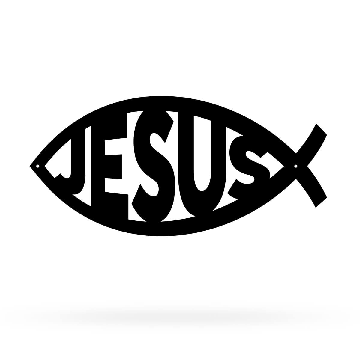 "Jesus Christ ""Ichthys"" Symbol Wall Art 7.5""x16"" - Design 1 / Black - RealSteel Center"