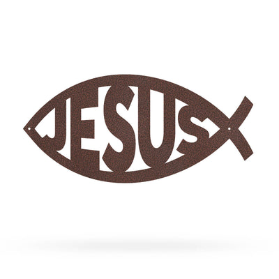 "Jesus Christ ""Ichthys"" Symbol Wall Art 7.5""x16"" - Design 1 / Penny Vein - RealSteel Center"