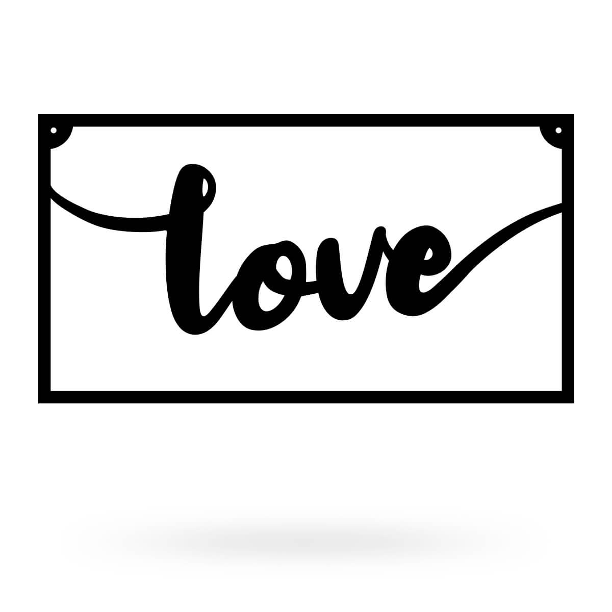 "Love Metal Sign 8""x15"" / Black - RealSteel Center"