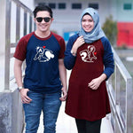 Dress Tunik Couple Puzzle of Love Maroon Navy - Harga Sepasang - Mypoly.ID