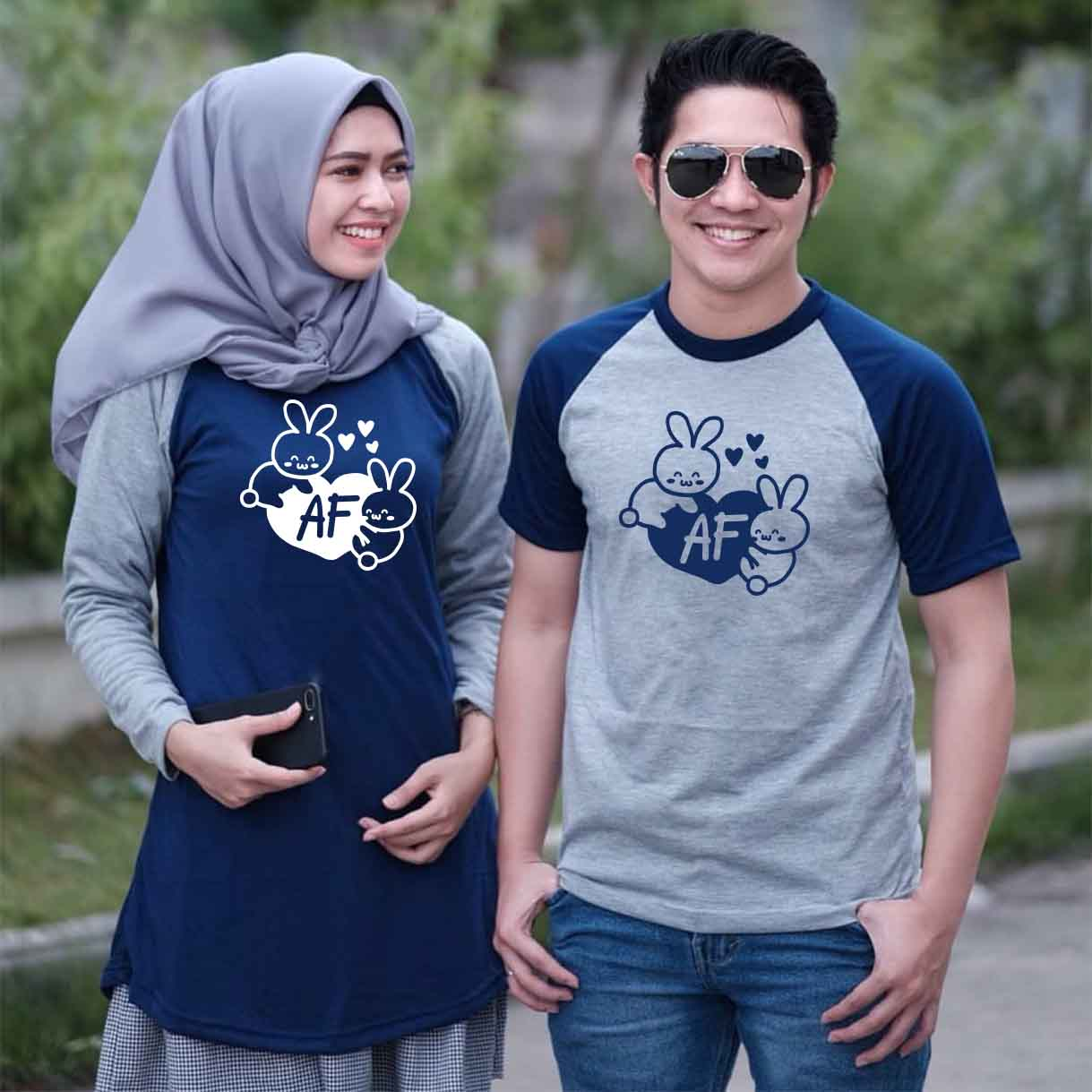 Dress Tunik Couple Doodle Love Initial Abu Navy - Harga Sepasang - Mypoly.ID