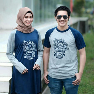 Dress Tunik Couple Doodle Coffee Abu Navy - Harga Sepasang - Mypoly.ID